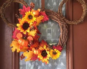 Fall Inspired Mickey Wreath