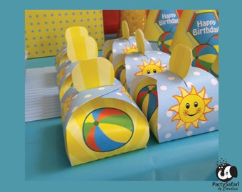 Beach Ball Printable Favor Box | Beach Ball Pool Party Favor Box | INSTANT DOWNLOAD | Party Safari By Candace