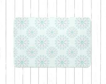 Mint And Gray Mandala Area Rug Or Bath Mat   Minimalist Childrenu0027s Rug   Kids  Area