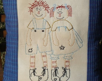 Embroidered pillow  Raggedy Anne and Andy pillow Decorative pillow  Raggedy Anne and Andy Interior Decor  Raggedy Anne doll