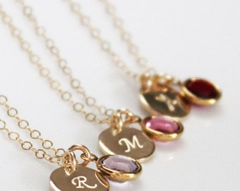 Birthstone Initial Necklace, Push Present, Dainty Gold Necklace, Gold Initial Necklace, Birthstone Necklace, New Mom Gift, Gift For Her