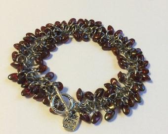Cranberry beaded bracelet