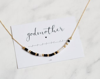 GODMOTHER Morse Code Necklace, Morse Code Jewelry, Gift for godmother, Dainty Jewelry, Make a wish jewelry, Gift for her, Birthday gift