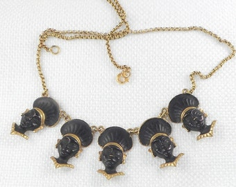 Vintage Bronze Brass Blackamoor Drop Necklace Tribal Necklace Egyptian Revival Nubian Necklace Blackamoor Charm Necklace