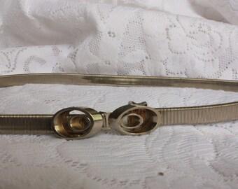 Vintage Women's  Belt vintage stretch belt vintage snake skin  coil belt  thin belt, elastic belt, snake coil belt