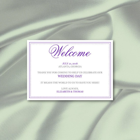 Wedding Welcome Bag Tags Template, Diy Purple Calligraphy Out of Town ...