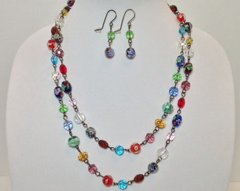 Extra Long Necklace, Multi Color Glass, Faceted Glass, Lampworked Glass, Non Tarnish Brass Wire, Necklace, Earrings