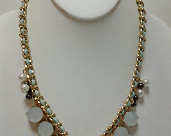 Gold Chain Mint Beaded Necklace with Pearls / Bib Mint Necklace.