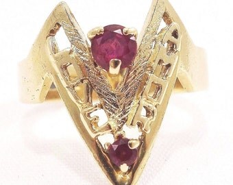 14k Solid Yellow Gold Love Amor Ruby Ring