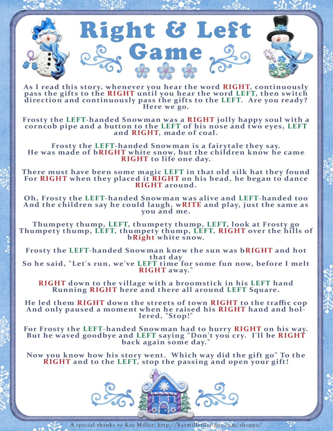 Current image intended for free printable left right christmas game