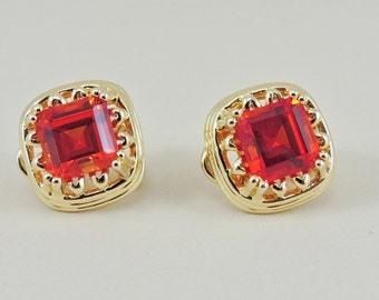 Sterling Silver Gold Plated And 2.5ct Each Asscher Orange Sapphire Earrings