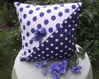pillow,polka dot,blue,white,cotton,handmade from himmeldurchnadeloehr