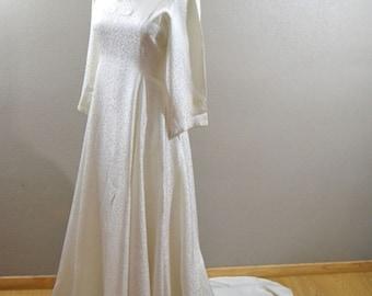 Vintage french  silk wedding dress, 1940s, silk damask, rustic wedding, boho