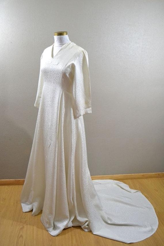 Vintage french silk wedding dress 1940s silk damask rustic for French vintage wedding dresses