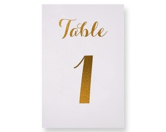 Carolyna II Gold Foil Table Numbers - Gold Table Number Cards - Both Sides - Wedding Table Numbers with Gold Foil #TN126G