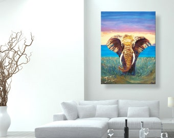 "oil painting, paintings on canvas, Wild Elephant"", canvas art, modern art wall art, abstract painting, canvas art, canvas painting, yellow"
