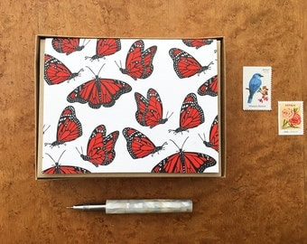 Monarch Butterflies, Boxed Set of 8 Letterpress Notecards, Blank Inside