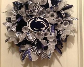 Penn State wreath, Penn State deco mesh wreath, Penn State ribbon, Penn State Fan, Penn State Gift, PSU wreath, Penn State Alumni Graduate