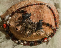 Goddess Morrigan Priestess FREE SHIPPING Necklace Raven Skull Pendant Ceramic Crow Beads Pagan Jewelry Metaphysical Witchcraft Ritual Wear