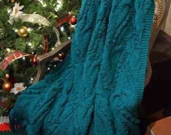 """Cable Knitted Teal Afghan / Throw / Blanket 65"""" X 54"""" - Ready to Ship"""