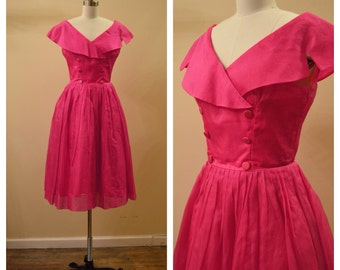 Vintage 1950's Emma Domb Silk Organza Magenta Pink party dress with Portrait Collar