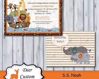 Custom SS Noah Baby Shower Invitation | SS Noah Nursery by Lambs & Ivy | DIY Printable | Personal Use Only | Noah's Ark Baby Nursery