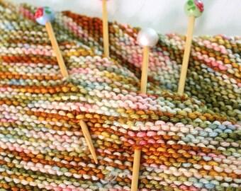 Painted Shawl Pin, Wood Shawl Pin, Rose Shawl Pin, Knit Accessory, Knitter Gift
