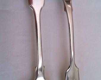 Pair of English sterling silver mustard spoons, gilt bowls, 1874, monogram