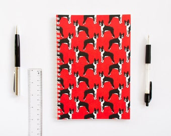 LAST ONE! Boston Terrier Notebook. Red A5 Spiral Bound Journal with Black + White Dog. Made in UK