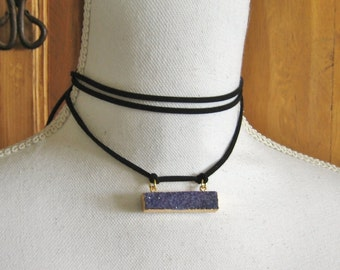 "Leather Wrap Necklace with Gold Plated Purple Druzy - 60"" Vegan Leather Choker Tie Necklace - Boho Coachella Style Jewelry"