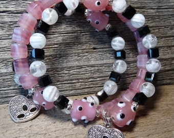CLEARANCE!!!! Pink, black and white glass beads with polka dotted round pink beads multi coil memory wire bracelet