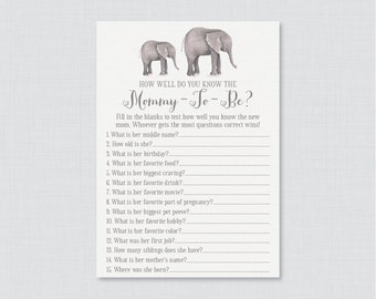 Elephant Baby Shower Printable How Well Do You Know the Mommy to Be Game - Who Knows Mommy Best? - Elephant Shower Game Mommy Quiz 0052