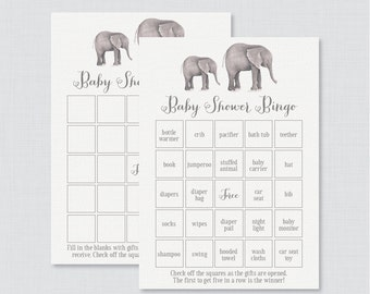 Elephant Baby Shower Bingo Cards - Printable Blank Bingo Cards AND PreFilled Cards - Gray Elephant Baby Bingo Cards - 0052