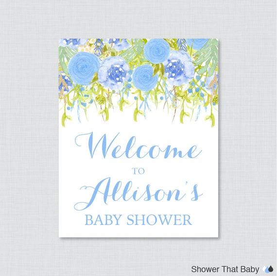 floral baby shower welcome sign printable personalized shower welcome