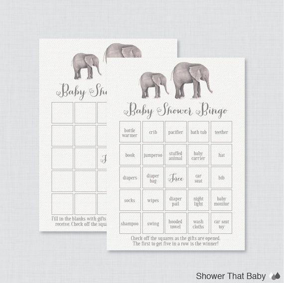 Elephant Baby Shower Bingo Cards Printable Blank Bingo Cards