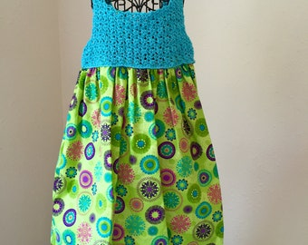 Handmade crochet dress with cotton material skirt 18 to 24 mo.