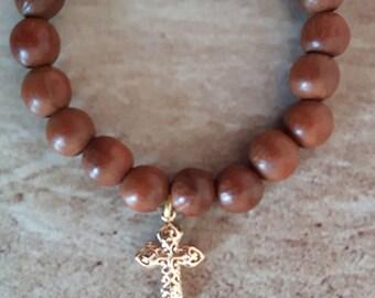 Beaded bracelet, Cross bracelet, Religious bracelet, Faith bracelet,Mala bracelet with Cross, Simple bracelet, Christian jewelry, Religious