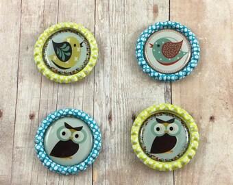 Owl Magnets - Bird Kitchen Magnets - Bottlecap Magnets - Fridge Magnets - Locker Magnets - Owl Gifts - Set of Magnets - Housewares