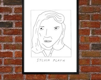 Badly Drawn Sylvia Plath - Literary Poster - *** BUY 4, GET A 5th FREE***