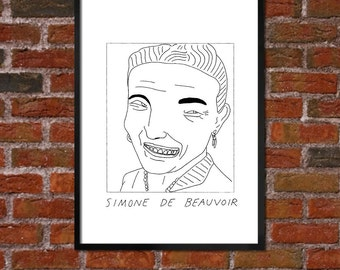 Badly Drawn Simone de Beauvoir - Literary Poster - *** BUY 4, GET A 5th FREE***