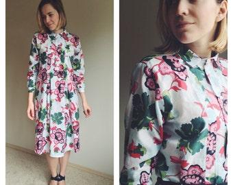 Floral Shirt Dress, Long Sleeves Dress, Floral Cotton Dress