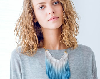 Bohemian Ombre Necklace, Ombre Necklace, Ombre Fringe Necklace, Ombre Statement Necklace, Fringe Necklace, Statement Tassel Necklace