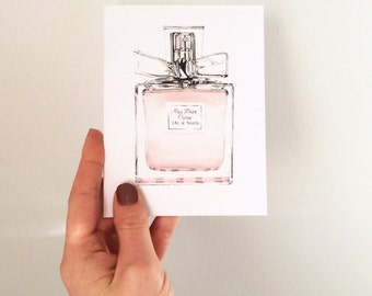 Miss Dior greeting card - perfume - illustration - fashion illustration - Miss Dior - Cherie - handmade card