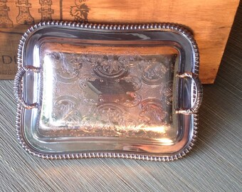 Rectangular Entree Dish Engraved Filligree Two Handled Silver Server, Chic French Brocante, Heirloom Victorian Wedding Shower Decoration