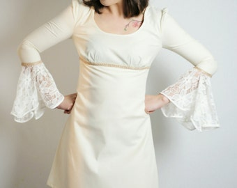 60's/70's babydoll dress with lace flare sleeves