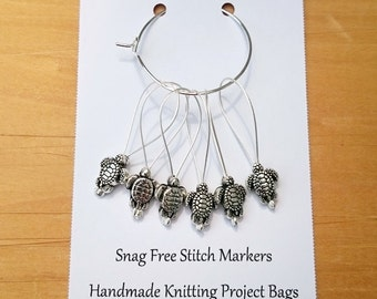Knitting Stitch Markers, Snag Free, Snagless Beaded Knitting Stitch Markers, Set of 6 silver plated Turtle stitch markers
