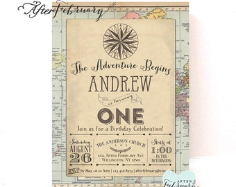 Adventure Birthday Invitation Compass Birthday Invite Around the World Birthday Invitation // Printable No.1269KIDS