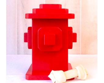 Wood hydrant pet treat container