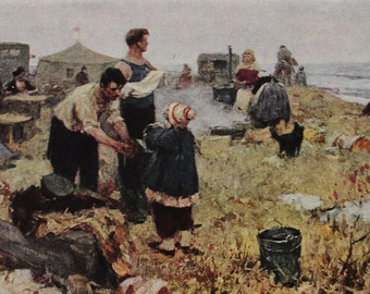 The First Days on the Virgin Lands - Artist Smolin - Vintage Soviet Postcard, 1962. Sovetskiy hudozhnik. Men Women Children Field Landscape
