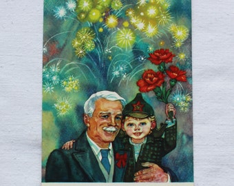 "Illustrator Gorobievskaya. Vintage Soviet Postcard ""Holiday of October revolution"" - 1984. Mystetstvo, Kiev. Grandfather, Boy, Grandson"